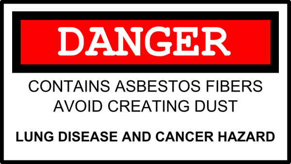 A warning sign for asbestos